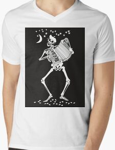 Day of the Dead Skeleton with Accordion Mens V-Neck T-Shirt