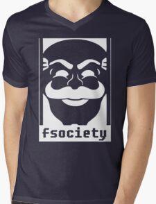 MrRobot TV Series Banksy Fsociety Mens V-Neck T-Shirt