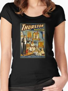 Thurston the great magician 1914 Vintage Poster Women's Fitted Scoop T-Shirt
