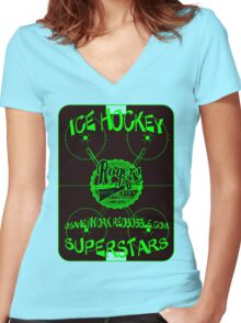 ice hockey superStars by rogers bros Women's Fitted V-Neck T-Shirt