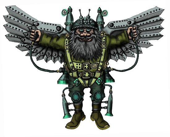 Flying Man funny cartoon drawing by Vitaliy Gonikman