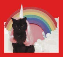 Unicorn Rainbow Cat Kitten Grumpy Kids Tee
