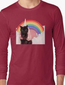 Unicorn Rainbow Cat Kitten Grumpy Long Sleeve T-Shirt