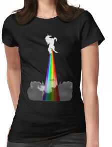 Unicorn With Rainbow Cloudy Funny Womens Fitted T-Shirt