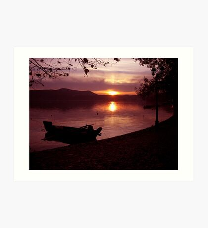 Boat into a pink atmosphiere Art Print