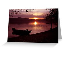 Boat into a pink atmosphiere Greeting Card