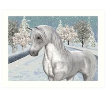 Winter Snow .. the tale of a wild horse Art Print