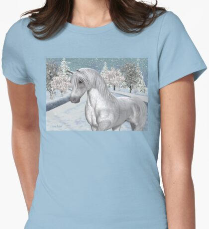 Winter Snow .. the tale of a wild horse Womens Fitted T-Shirt