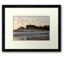 Narragansett Towers Morning Walk Framed Print
