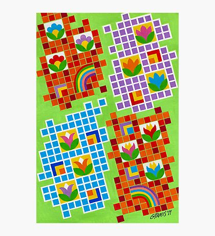 Colors And Squares With Flowers - Brush And Gouache Photographic Print