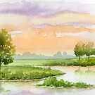 A Pink Sky, Trees, And Water Early in The Evening - Aquarel by RainbowArt