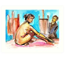 The Model and the painter Art Print