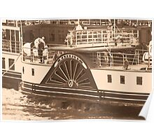 Waverley Paddle Steamer Paddles in Sepia Poster