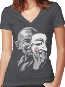 DISOBEY - Gandhi Putting on Guy Fawkes Mask Women's Fitted V-Neck T-Shirt
