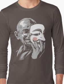 DISOBEY - Gandhi Putting on Guy Fawkes Mask Long Sleeve T-Shirt