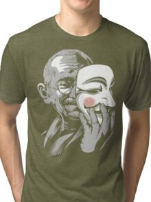 DISOBEY - Gandhi Putting on Guy Fawkes Mask Tri-blend T-Shirt