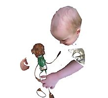 baby meets junk puppet Photographic Print
