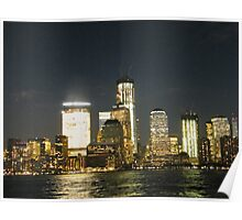 Lower Manhattan, New World Trade Center at Night, View from Jersey City, New Jersey Poster