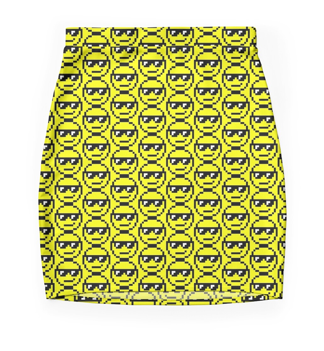 """Pixel Art Smiley Face"" Mini Skirts by designs-by-jess ..."