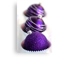 Christmas Purple Bauble Cupcakes Canvas Print