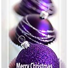 Merry Christmas - Purple Baubles by Joy Watson