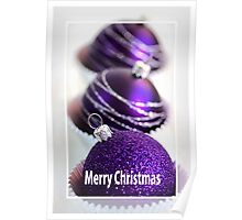 Merry Christmas - Purple Baubles Poster