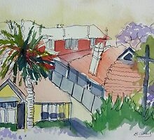 Rooftops and Jacarandas by Barbara Gray