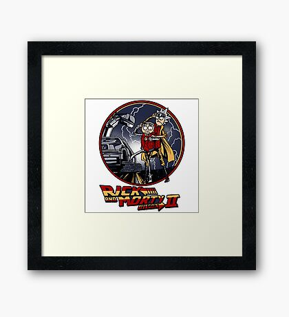rick and morty back to the future  Framed Print