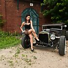 Pin Up Babe with Model A Coupe by trussphoto