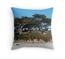 Kite-eating tree and white sand, Carmel Throw Pillow