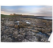 Dunstanburgh castle and coast Poster