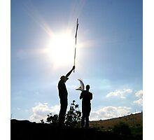Tabgha - cross held by young men Photographic Print