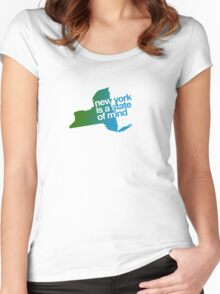 New York is a state of mind - Green/blue Women's Fitted Scoop T-Shirt