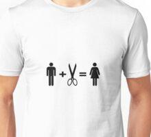 Funny Man Scissors Woman Unisex T-Shirt