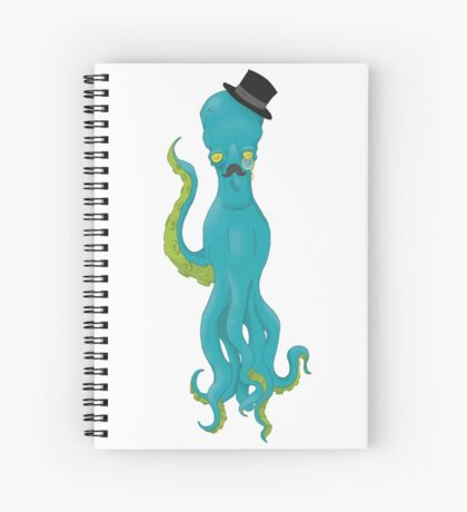 Top Hat Octopus -White Spiral Notebook