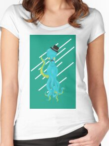 Top Hat Octopus - Line graphic Women's Fitted Scoop T-Shirt