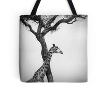 giraffe and a tree Tote Bag