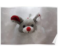 Mouse in his Snow House Poster
