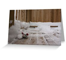 Christmas Mouse making a snowman Greeting Card