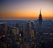Panorama of Manhattan at sunset by javarman