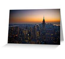 Panorama of Manhattan at sunset Greeting Card