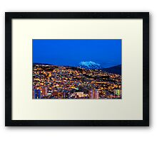 Panorama of La Paz of night, Bolivia Framed Print