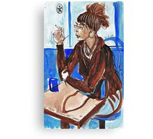 Smoking Lady (literally smoking!) Canvas Print