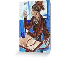 Smoking Lady (literally smoking!) Greeting Card