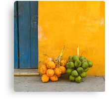 Fresh coconuts in the street of Cartagena, Colombia Canvas Print