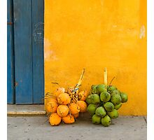 Fresh coconuts in the street of Cartagena, Colombia Photographic Print