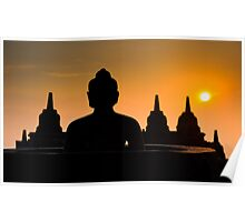 Borobudur temple at sunrise, Java, Indonesia Poster