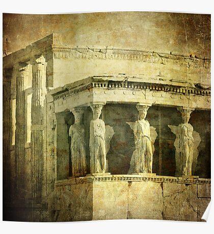 Vintage image of Caryatids, Acropolis, Athens, Greece Poster
