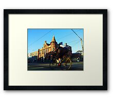 Perseverance Hotel and Cyclist (Fitzroy, Melbourne) Framed Print