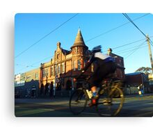 Perseverance Hotel and Cyclist (Fitzroy, Melbourne) Canvas Print